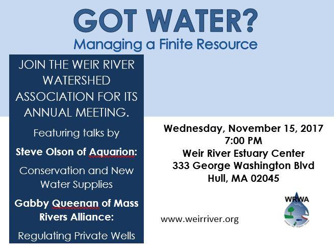 Weir River Annual Meeting November 15, 2017 7 pm